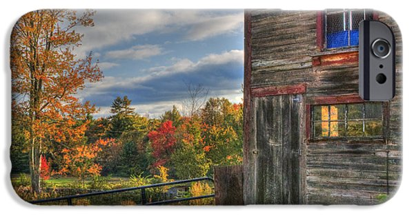 Fall Scenes iPhone Cases - Weathered Barn in Autumn iPhone Case by Joann Vitali