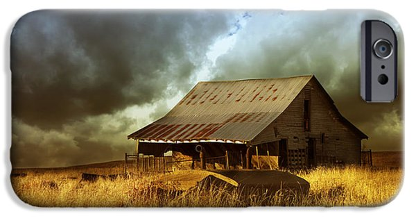 Recently Sold -  - Old Barns iPhone Cases - Weathered Barn  Stormy Sky iPhone Case by Ann Powell