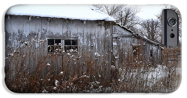 Shed iPhone Cases - Weathered Barns in Winter iPhone Case by Amy Lucid