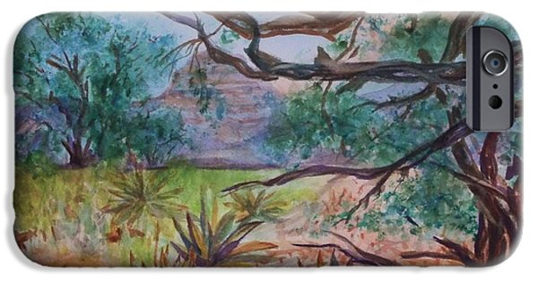 Arizonia iPhone Cases - Weathered Branches and Yuccas in Red Rock Country iPhone Case by Ellen Levinson