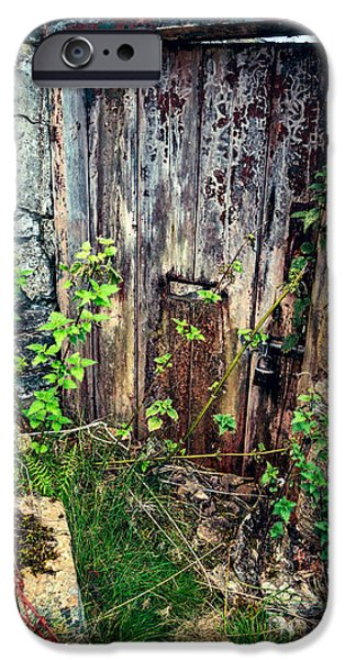 Bolts iPhone Cases - Weathered Door iPhone Case by Adrian Evans