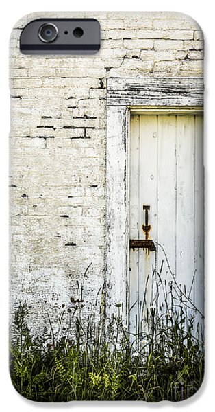Old Maine Houses iPhone Cases - Weathered Door iPhone Case by Diane Diederich