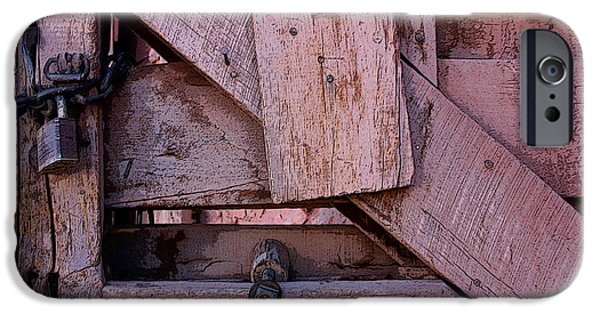 Historic Site iPhone Cases - Weathered Gate With Lock And Chain iPhone Case by Joe Kozlowski