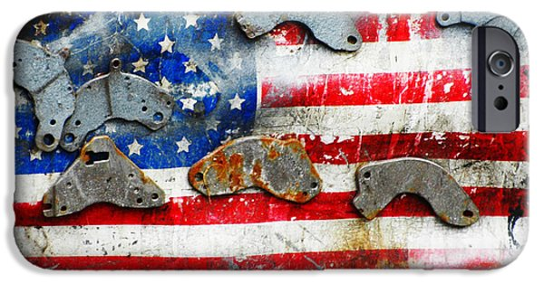 Old Glory Mixed Media iPhone Cases - Rustic Industrial American Flag iPhone Case by Anahi DeCanio - ArtyZen Studios