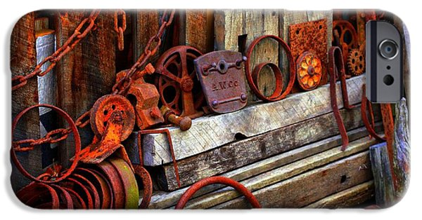 Industry iPhone Cases - Weathered Rims And Chains iPhone Case by Marcia Lee Jones