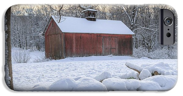 Red Barn In Winter iPhone Cases - Weathering Winter iPhone Case by Bill  Wakeley