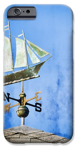 Sailing Ship iPhone Cases - Weathervane Clipper Ship iPhone Case by Carol Leigh