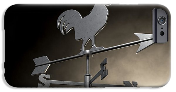 Rotate iPhone Cases - Weathervane Cockerel Isolated iPhone Case by Allan Swart