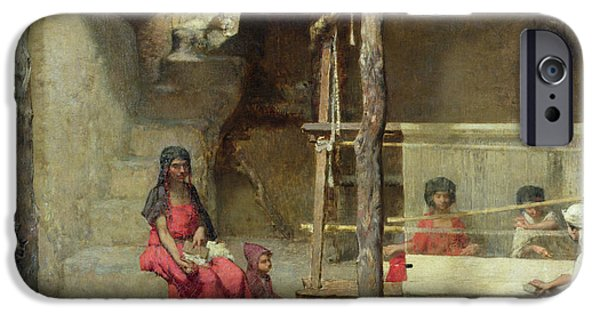 Orientalists iPhone Cases - Weavers At Bou-saada Oil On Canvas iPhone Case by Gustave Guillaumet