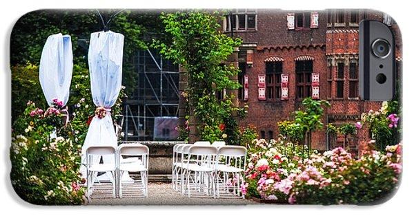 Garden Scene iPhone Cases - Wedding Arrangement in De Haar Castle. Utrecht  iPhone Case by Jenny Rainbow