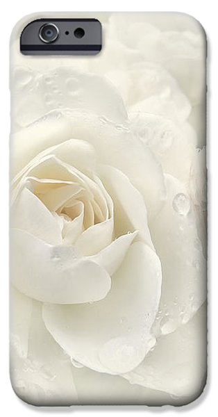 Wedding Day White Roses iPhone Case by Jennie Marie Schell