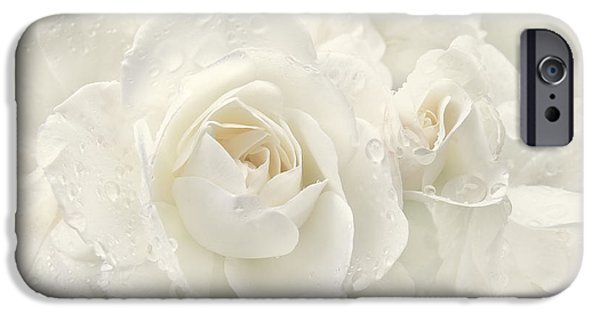 Close Up Floral iPhone Cases - Wedding Day White Roses iPhone Case by Jennie Marie Schell