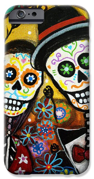 Couple iPhone Cases - Wedding Dia De Los Muertos iPhone Case by Pristine Cartera Turkus