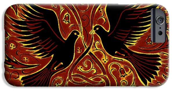 Print Photographs iPhone Cases - Wedding Doves, 2013 Woodcut iPhone Case by Nat Morley