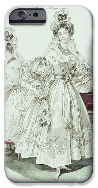 Model iPhone Cases - Wedding Dress, From Le Follet Courrier Des Salons Modes, 1832 Colour Litho iPhone Case by French School