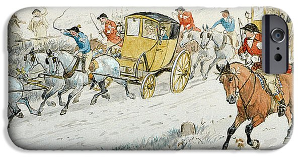 Snowy Drawings iPhone Cases - Wedding Procession Returning From Church iPhone Case by Randolph Caldecott
