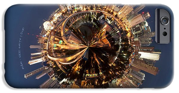 City Scape Photographs iPhone Cases - Wee Miami Planet iPhone Case by Nikki Marie Smith