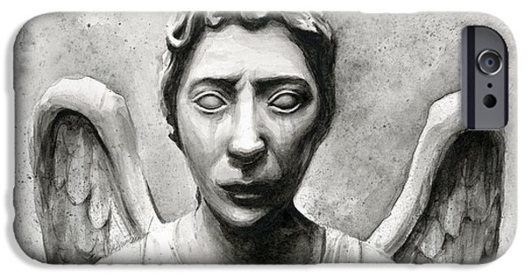 Fan Paintings iPhone Cases - Weeping Angel Dont Blink Doctor Who Fan Art iPhone Case by Olga Shvartsur