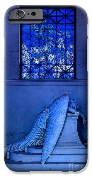 Headstones Digital Art iPhone Cases - Weeping Angel iPhone Case by Jerry Fornarotto