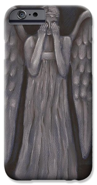 Angel Blues Pastels iPhone Cases - Weeping Angel iPhone Case by Nina Shilling