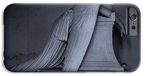 Headstones Digital Art iPhone Cases - Weeping Angel Statue  BW 2 iPhone Case by Jerry Fornarotto