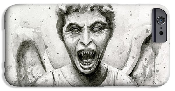 Dr Who iPhone Cases - Weeping Angel Watercolor - Dont Blink iPhone Case by Olga Shvartsur