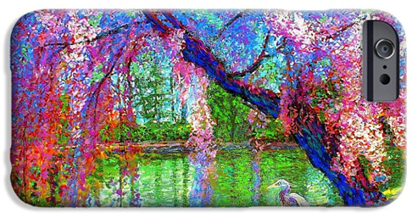 Colorful Paintings iPhone Cases - Weeping Beauty iPhone Case by Jane Small