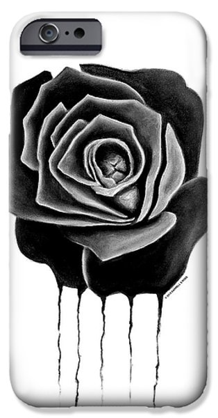 Weeping Drawings iPhone Cases - Weeping Black Rose iPhone Case by Darrell Ross