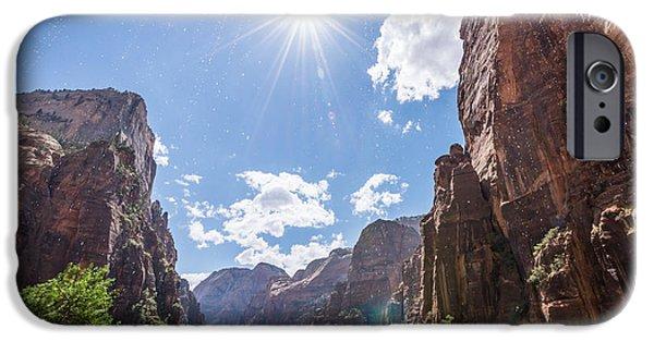 Michael Versprill iPhone Cases - Weeping Rock Sunburst iPhone Case by Michael Ver Sprill
