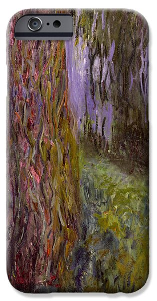 Garden iPhone Cases - Weeping Willow and the Waterlily Pond iPhone Case by Claude Monet