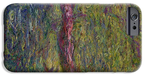 Willow iPhone Cases - Weeping Willow iPhone Case by Claude Monet