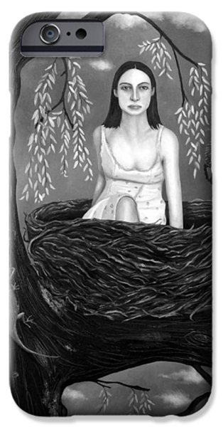 Pear Tree Paintings iPhone Cases - Weeping Willow in BW iPhone Case by Leah Saulnier The Painting Maniac