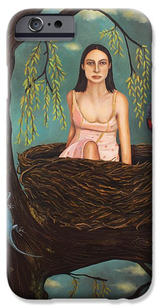 Pear Tree Paintings iPhone Cases - Weeping Willow iPhone Case by Leah Saulnier The Painting Maniac