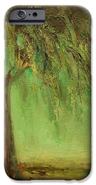 Contemplative Paintings iPhone Cases - Weeping Willow iPhone Case by Mary Wolf