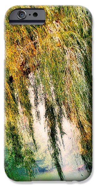 Weeping Willow Tree Painterly Monet Impressionist Dreams iPhone Case by Carol F Austin