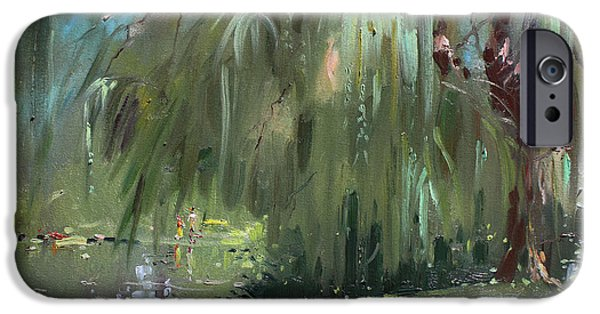 Willow Lake iPhone Cases - Weeping Willow Tree iPhone Case by Ylli Haruni