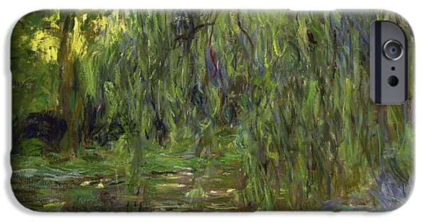 Garden iPhone Cases - Weeping Willows The Waterlily Pond at Giverny iPhone Case by Claude Monet