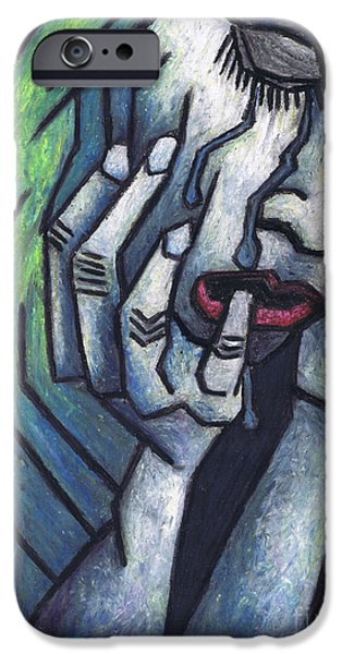Colorful Abstract Pastels iPhone Cases - Weeping Woman iPhone Case by Kamil Swiatek