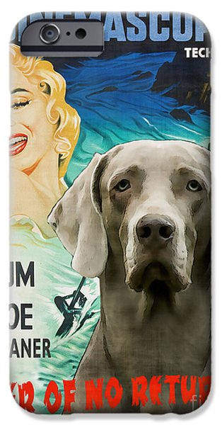 Weimaraner iPhone Cases - Weimaraner Art Canvas Print - River of No Return Movie Poster iPhone Case by Sandra Sij
