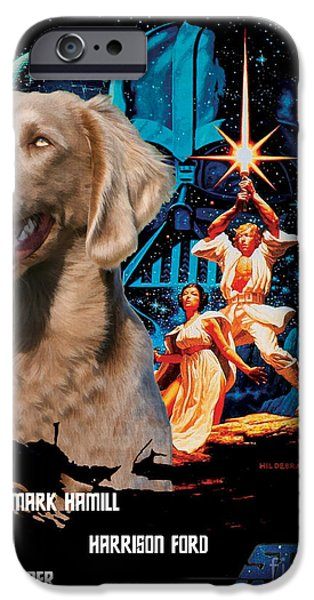 Weimaraner iPhone Cases - Weimaraner Art Canvas Print - Star Wars Movie Poster iPhone Case by Sandra Sij