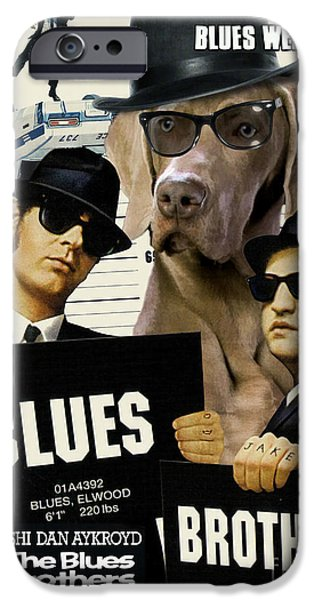 Weimaraner iPhone Cases - Weimaraner Art Canvas Print - The Blues Brothers Movie Poster iPhone Case by Sandra Sij