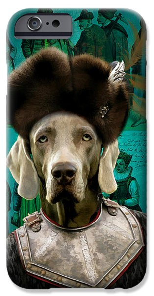 Weimaraner iPhone Cases - Weimaraner Art Canvas Print iPhone Case by Sandra Sij