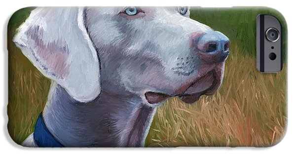 Weimaraners iPhone Cases - Weimaraner Dog iPhone Case by Alice Leggett