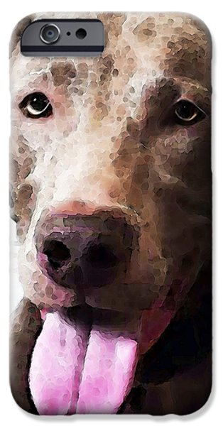 Weimaraners iPhone Cases - Weimaraner Dog Art - Happy iPhone Case by Sharon Cummings