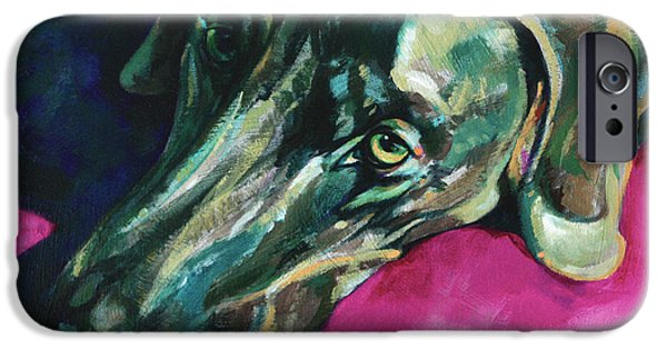 Vivid Colour Paintings iPhone Cases - Weimaraner-Dog in shadows iPhone Case by Derrick Higgins