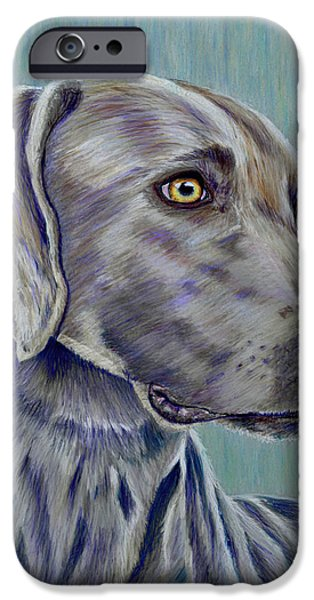 Michelle Drawings iPhone Cases - Weimaraner Grey Ghost iPhone Case by Michelle Wrighton