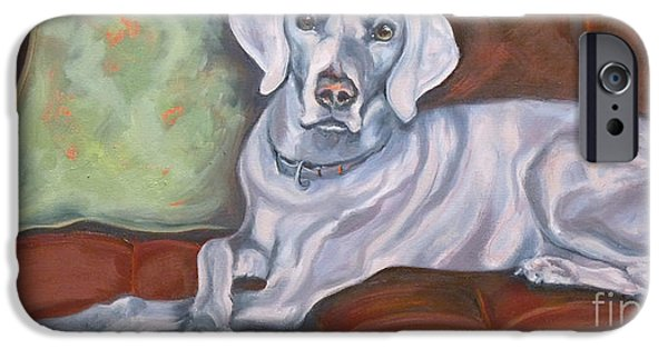 Weimaraners iPhone Cases - Weimaraner Reclining iPhone Case by Susan A Becker