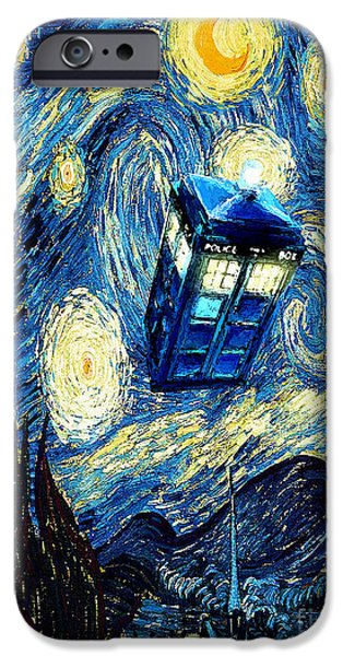 Dr Who iPhone Cases - Weird Flying Phone Booth Starry the night iPhone Case by Three Second