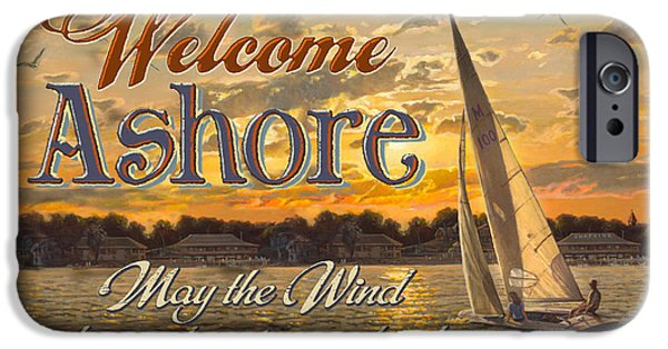 Sail Boat iPhone Cases - Welcome Ashore Sign iPhone Case by JQ Licensing