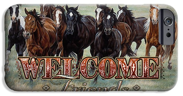 Michelle iPhone Cases - Welcome Friends Horses iPhone Case by JQ Licensing